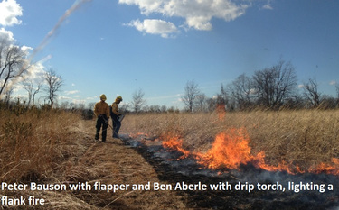 Peter Bauson with flapper and Ben Aberle with drip torch lighting flank fire c