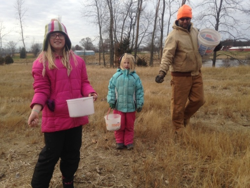 BHM December Prairie Planting 12_7_2019 Brennan Woods _ Evelyn. Naomi. John Brittenham _ by Fred Wooley